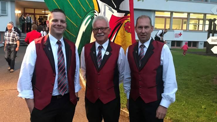 v.l.n.r.: Markus Jenny (Kantonaler Veteran), Franz Bucheli (Kantonaler Ehrenveteran), Stéphane Rothen (Kantonaler Veteran)