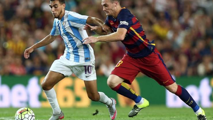 Schütze des wegweisenden 1:0 für Barcelona: der belgische Verteidiger Thomas Vermaelen (rechts)