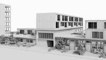 Die Visualisierung zeigt, wie sich das Rütschi-Areal dereinst präsentieren kann: Das bestehende Fabrikgebäude, so der Plan, wird mit Aufbauten erweitert.