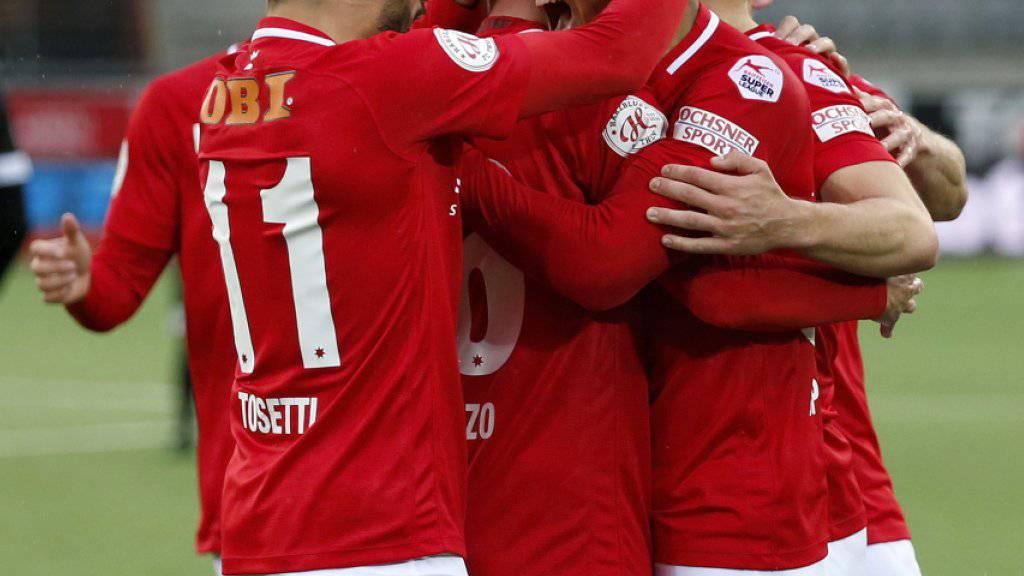Der FC Thun freut sich über den ersten Meisterschaftssieg seit Februar