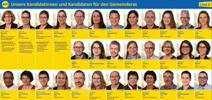(2) Die Kandidatinnen und Kandidaten der EVP Dietikon für die Gemeinderats- sowie Stadtrats- und Stadtpräsidentenwahlen vom 4. März 2018