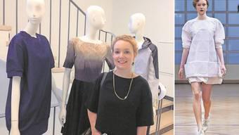 Elisa Kalt mit ihrer Diplomarbeit, dem blauen Kleid ganz links im Bild. Auch das Kleid auf dem rechten Bild hat sie entworfen und gefertigt