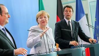 """Demonstrative Einigkeit in Berlin: Hollande, Merkel und Renzi (v.l.) fordern gemeinsam einen """"neuen Impuls"""" für die EU."""