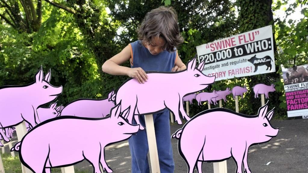 Mai 2009: Schweinegrippe-Demo vor dem WHO-Hauptquartier in Genf. Ist es bald wieder soweit? Chinesische Forscher sagen ja, die Regierung sagt nein. (Archivbild)