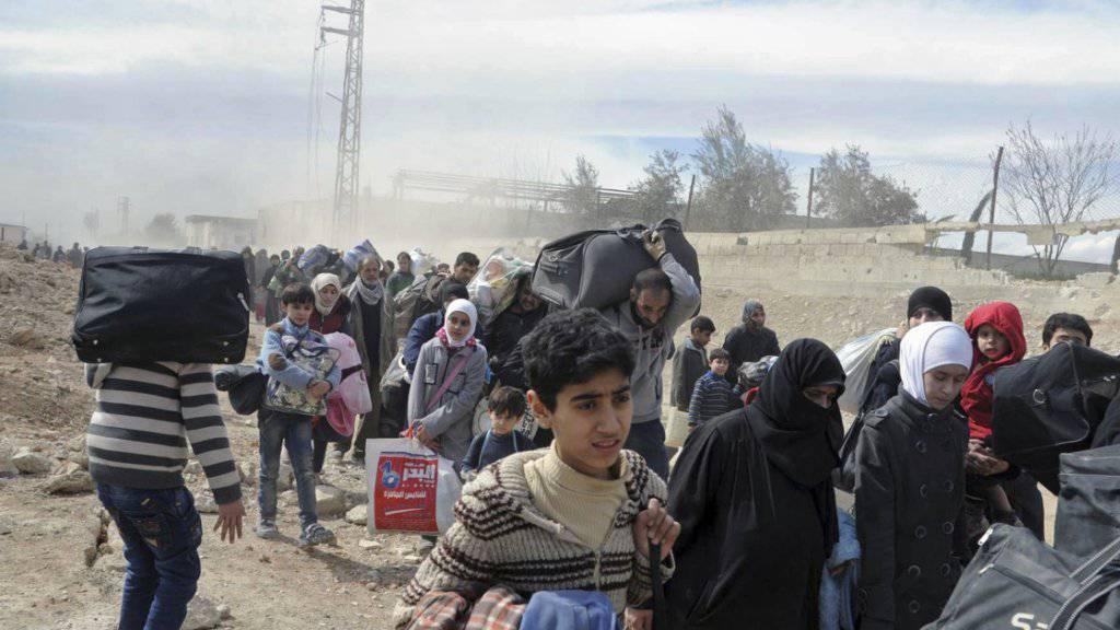 Massenflucht von Zivilisten aus Ost-Ghuta