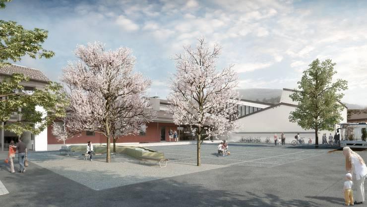 So könnte der Dorfplatz Möriken nach der Neugestaltung aussehen, wobei die Zufahrt zum Gemeindesaal für Anlieferungen bei Grossanlässen gewährleistet ist. ZVG