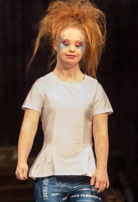 Madeline Stuart an der N.Y. Fashion Week 2017.