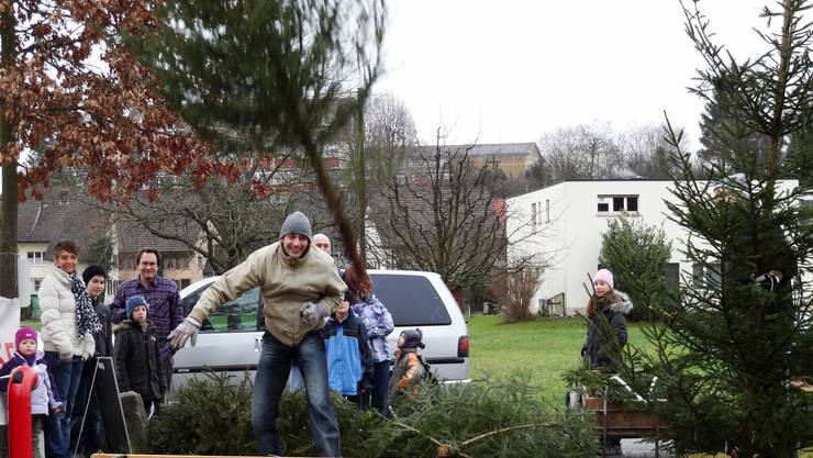 In Sisseln gab es bis vor einigen Jahren – hier im Januar 2012 – einen Weihnachtsbaum-Wettwurf. Dieses Jahr findet in Zeiningen ein Wurf-Wettbewerb statt.