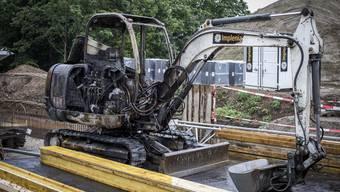 Im Mai 2017 brannte auf der Bässlergut-Baustelle ein Implenia-Bagger.