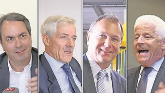 Paul Blumenthal (Ex-BVB), Ueli Vischer (Universitätsrat und MCH Group), André Dosé (BLT) und Benedikt Weibel (Rheinhäfen).
