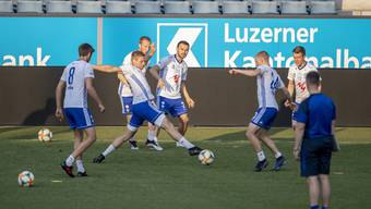 The Faroe Islands Team of KI Klaksvik at a training session at the swissporarena stadium in Lucerne, Switzerland, on Wednesday, July, 24, 2019. Faroe Islands Team of KI Klaksvik scheduled to play against Switzerlands`s FC Luzern an Europa League Qualification round 2 match on Thursday, July 25, 2019. (KEYSTONE/Urs Flueeler)