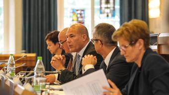 Monica Gschwind, Isaac Reber, Anton Lauber, Thomas Weber und Sabine Pegoraro