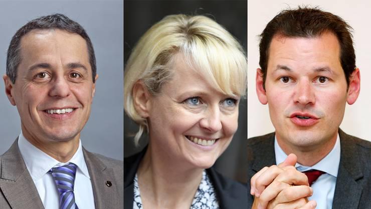 Der Arzt Ignazio Cassis (56, Nationalrat/TI), die Juristin Isabelle Moret (46, Nationalrätin VD) und der Jurist Pierre Maudet (39, Regierungsrat GE), sind im Rennen um den frei werdenden Bundesratssitz.