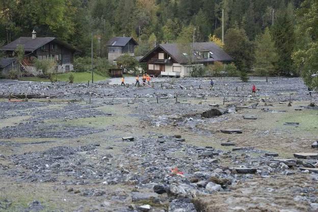 Von der Kander überschwemmtes Gebiet zwischen Frutigen und Kandersteg