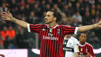 Milans Zlatan Ibrahimovic nach dem 1:0 in Siegerpose.