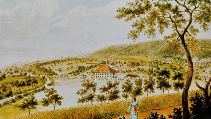Das Aquarell des Oltner Künstlers Martin Disteli zeigt das Bachtelenbad um 1823.