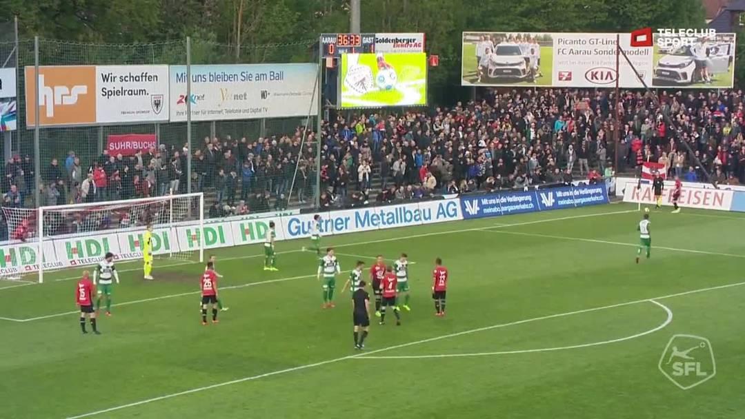 Challenge League: 2018/19, 34. Runde, FC Aarau - SC Kriens (15. Mai 2019), 37. Minute, Tor, Nicolas Schindelholz, 1:1