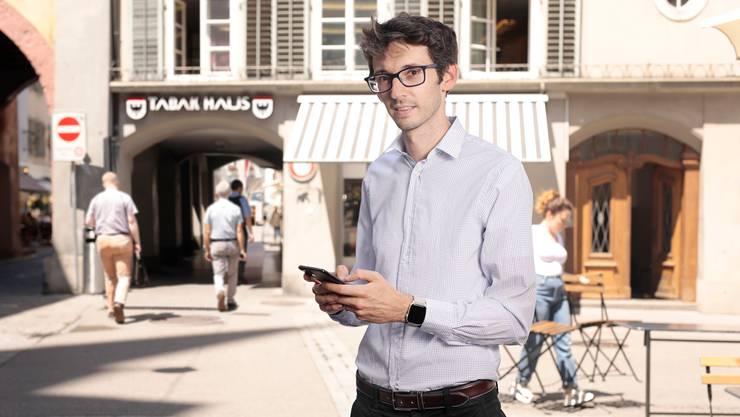 Wochen im «Ausnahmezustand» hat er hinter sich: Mathias Wellig, der Geschäftsführer der Softwarefirma Ubique, in der Aarauer Altstadt.