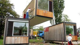 Sechs Schulen erhalten insgesamt sieben neue Pavillons, um das Schülervolumen zu bewältigen. Im Bild ein früheres Modell der Zürcher Schulhaus-Pavillons. (Archivbild)