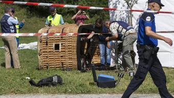 Der Korb des am Dienstag in Montbovon abgestürzten Ballons