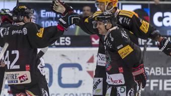 Die Freiburger Spieler hatten auch im Heimspiel gegen Kloten Grund zum Jubeln