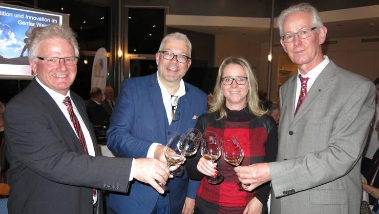 Präsident Markus Küng, Vorstandsmitglied und Organisatorin Christa Spitznagel, Referent Martin Wiederkehr und Vizepräsident Bruno Schmid (von links)