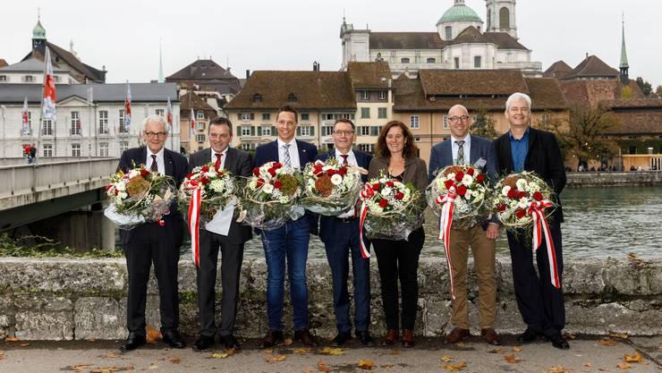 Die gewählten Parlamentarier: Kurt Fluri (FDP), Walter Wobmann (SVP), Christian Imark (SVP), Pirmin Bischof (CVP), Franziska Roth (SP), Stefan Müller-Altermatt (CVP) und Felix Wettstein (Grüne). Es fehlt Roberto Zanetti (SP), er wurde erst im 2. Wahlgang gewählt.