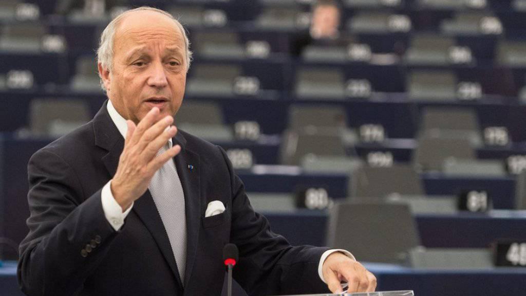 Will, dass die Pariser Klimabeschlüsse rasch umgesetzt werden: Frankreichs Aussenminister Laurent Fabius, hier vor dem Europaparlament in Strassburg