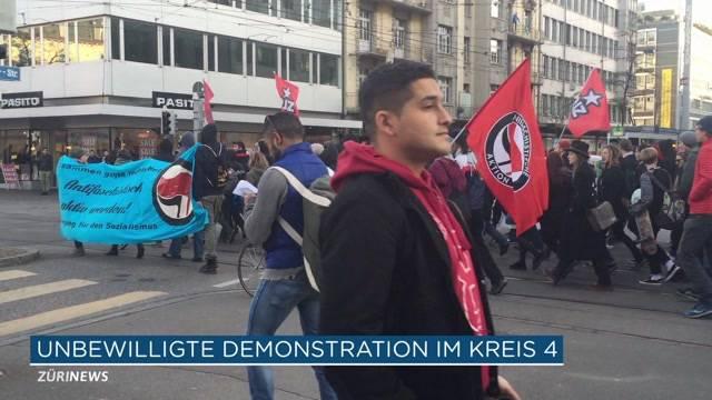 Grossaufgebot der Polizei wegen Demo
