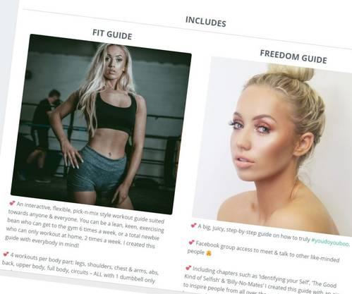 Darby hat auch eine Website, über die sie kommerzielle Fitness-Angebote vertreibt.