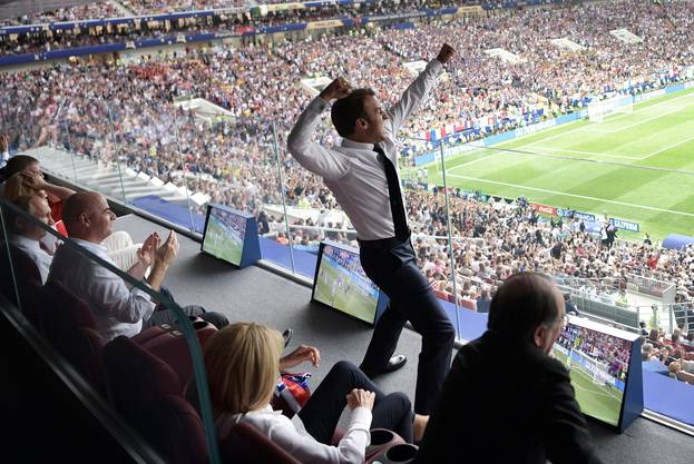 Frankreichs Präsident Emmanuel Macron während dem WM-Final.