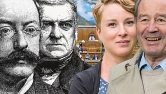 Peter Emil Isler (links) sass 48 Jahre in National- und Ständerat. Irène Kälin ist die amtsjüngste Aargauer Nationalrätin. Maximilian Reimann (rechts) bringt es auf 32 Jahre. Augustin Keller war 1848 Ständerat.