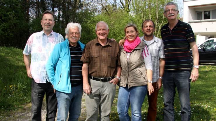 von rechts nach links Erich Schärer, René Kobler, Heidy Lauzait, Hansueli Furrer, Karl Villiger und Samuel Bosshard