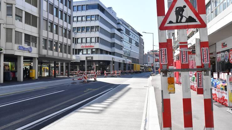Sanierung Baslerstrasse Olten 2020 im Bereich Citykreuzung / Handelshofkreuzung bis Coop-City (Archivbild)