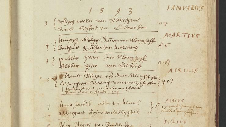 Eine Seite aus dem Ehebuch Kilchberg: Dezember 1592 bis Juli 1593