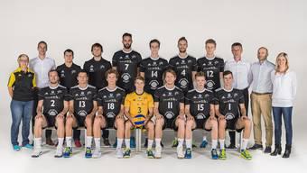Volleyball, Saison 2017/18: Das NLA-Team von Volley Schönenwerd mit dem neuen Trainerduo Rainer Vassiljev und Verro Indrek.