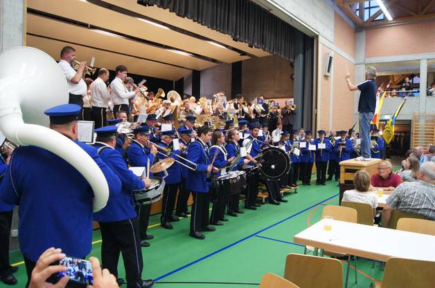 "Die Massed Band unter der Leitung von Patrick Fischer interpretiert den Titel ""Blues it up dude"""