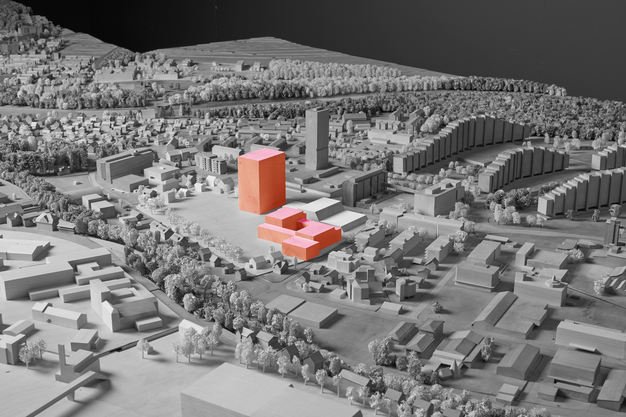 Im Atriumbau wäre auf der Westseite eine Dreifachturnhalle geplant. Synergien mit den Aussensportplätzen könnten so genutzt werden.