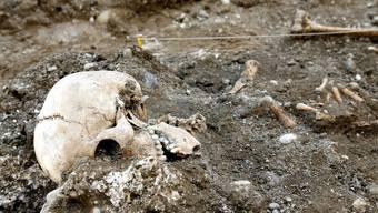 2012 wurden auf einer Baustelle in Feldbrunnen diese Überreste von enthaupteten Hingerichteten gefunden.