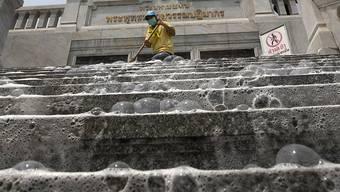 In Bangkok werden die Strassen von Soldaten desinfiziert. (Bild: Keystone)