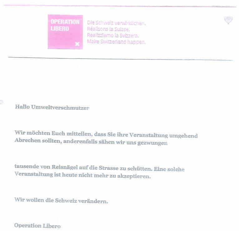 Dieses Flugblatt wurde unter den Besuchern verteilt. (Bild: PD)
