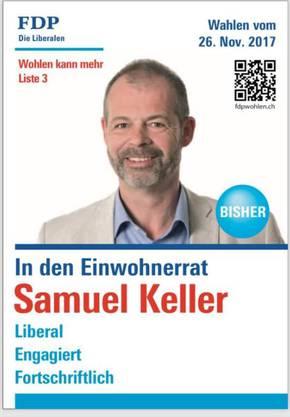 Samuel Kellers Wahlplakat auf Facebook