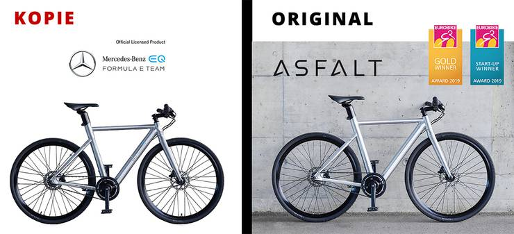 "Find the ten differences!  On the left the ""new"" e-bike from Mercedes-Benz EQ, on the right the Asfalt, the Solothurn start-up of the same name."