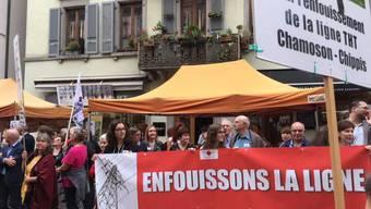 Der Gegner der Hochspannungsleitung zwischen Chamoson und Chippis demonstrierten am Freitagmorgen vor dem Grossen Rat des Kantons Wallis.