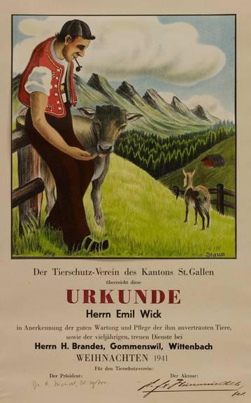 Die Urkunde des Tierschutzvereins  ist aus dem Jahr 1941. (Bild: Staatsarchiv St.Gallen)