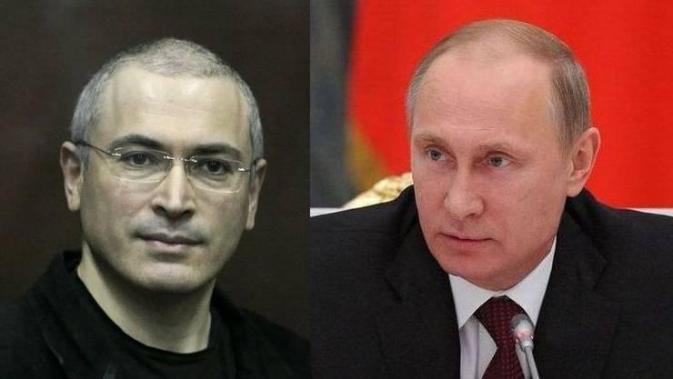 Kreml-Gegner Michail Chodorkowski und Präsident Wladimir Putin.
