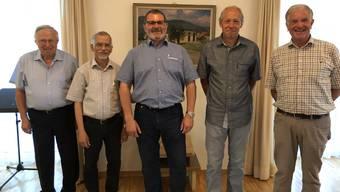 Von links: Leo Baumgartner, Diakon Sebastian Muthupara, Markus Sigrist, Toni Fleischli und Bernhard Kissling