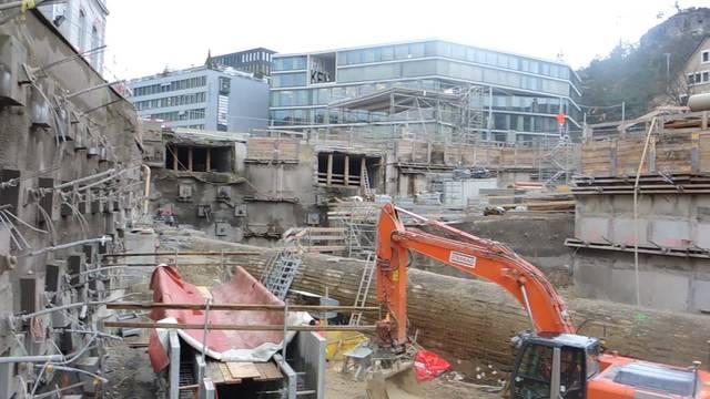 Bauarbeiten beim Schulhausplatz Baden