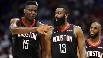 Ein sehr starkes Duo: Clint Capela (Nummer 15) und James Harden (13) von den Houston Rockets