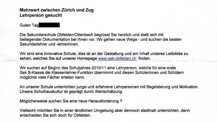 Mit diesem Brief versucht eine Zürcher Schule Mutscheller und Kellerämter Lehrpersonen abzuwerben.